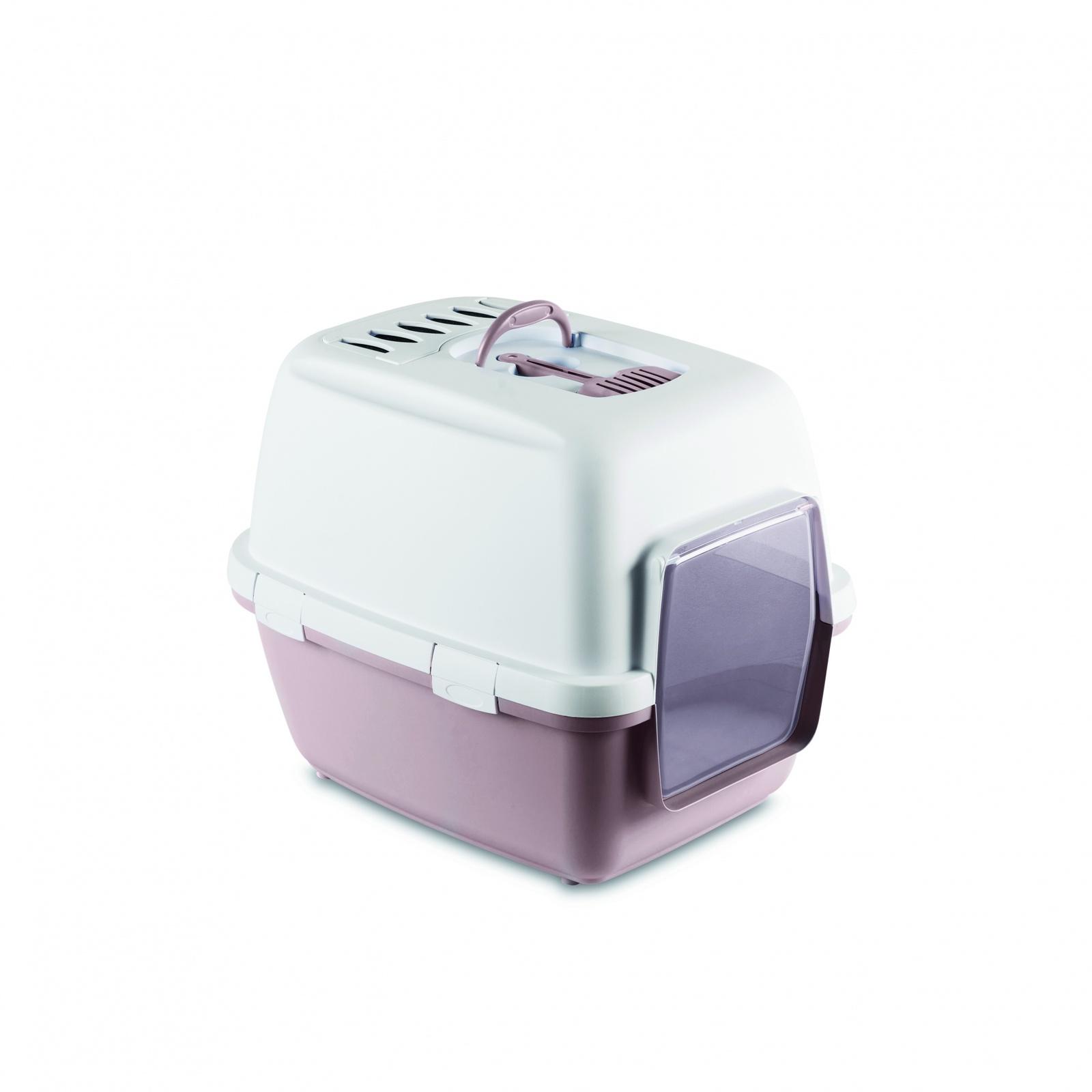 Stefanplast Туалет-домик Cathy Comfort с угольным фильтром и совочком, пудровый, 58х45х48 см (2,05 кг)