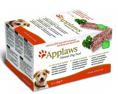 "Applaws Набор для Собак ""Индейка, Говядина, Океаническая рыба"", 5шт.*150г (Dog Pate MP Fresh Selection-  Turkey, beef, ocean fish) 6257CE-A 10298.уц УЦЕНКА"