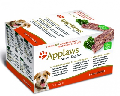 "Applaws набор для собак ""Индейка, говядина, океаническая рыба"", 5шт.x150г, Dog Pate MP Fresh Selection-Turkey, beef, ocean fish"