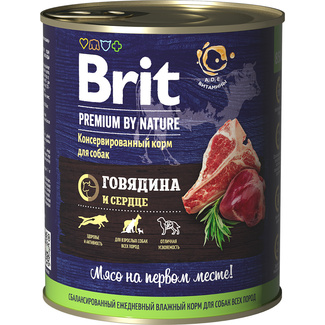 Premium by Nature консервы с говядиной и сердцем для собак Brit