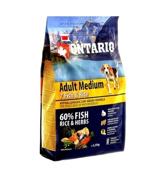 УЦЕНКА ontario Для собак с 7 видами рыбы и рисом (Ontario Adult Medium 7 Fish & Rice 12kg) 214-10678
