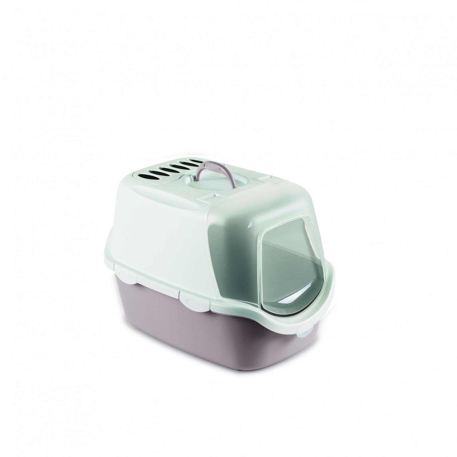 Stefanplast Туалет-Домик Cathy Easy Clean с угольным фильтром, пудровый, 56х40х40 см (1,6 кг)