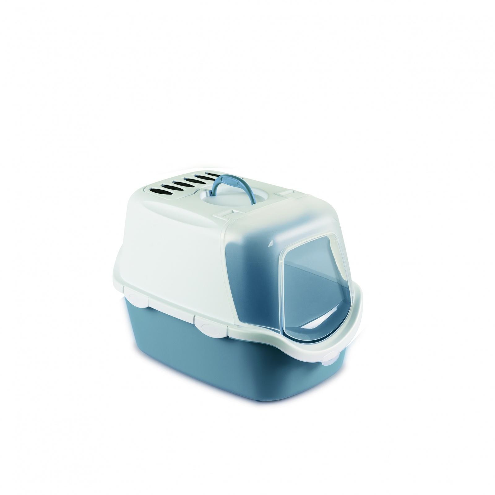 Stefanplast Туалет-Домик Cathy Easy Clean с угольным фильтром, синий, 56х40х40 см (1,6 кг)