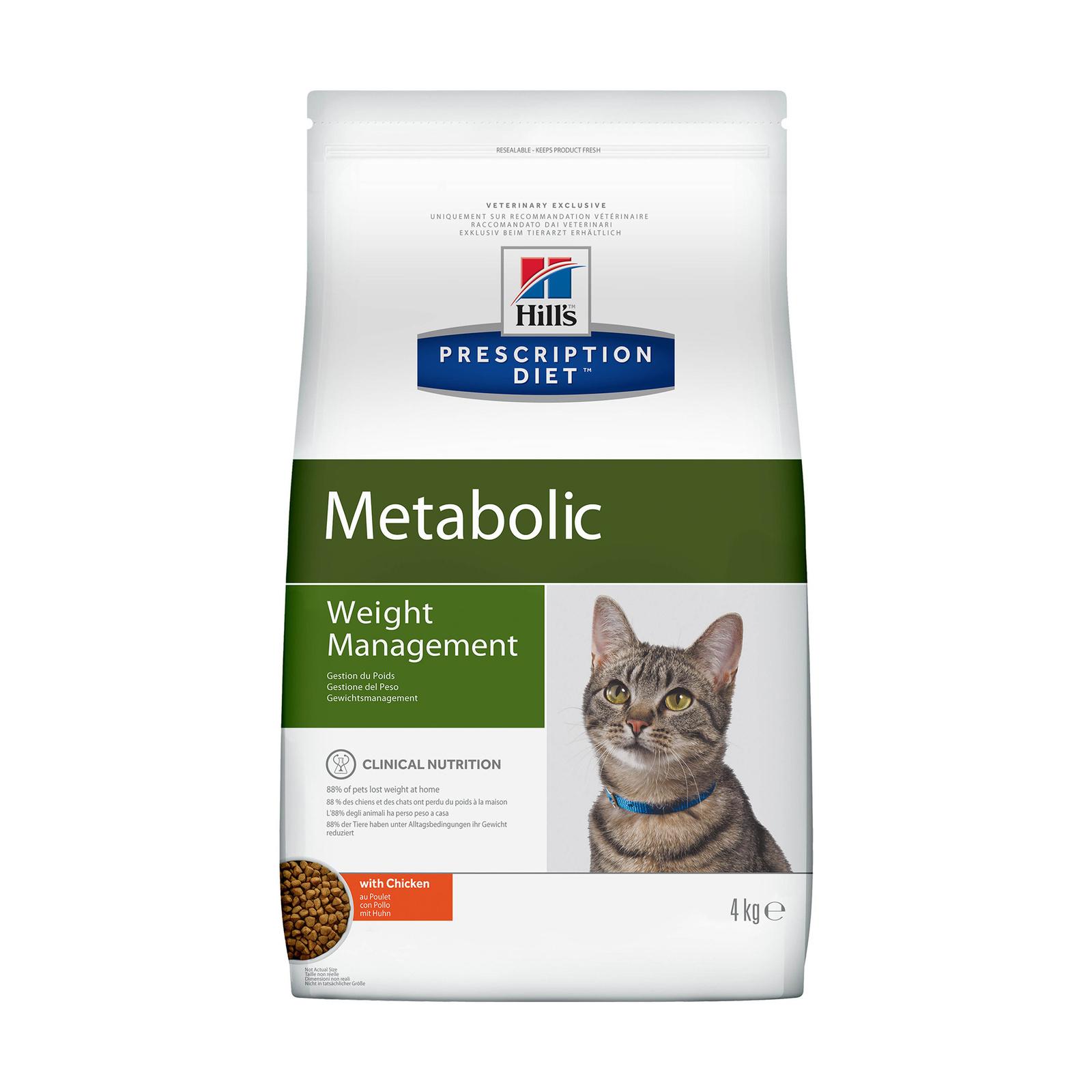 Hill's Prescription Diet Metabolic сухой диетический для кошек, способствует снижению и контролю веса, с курицей (1,5 кг)