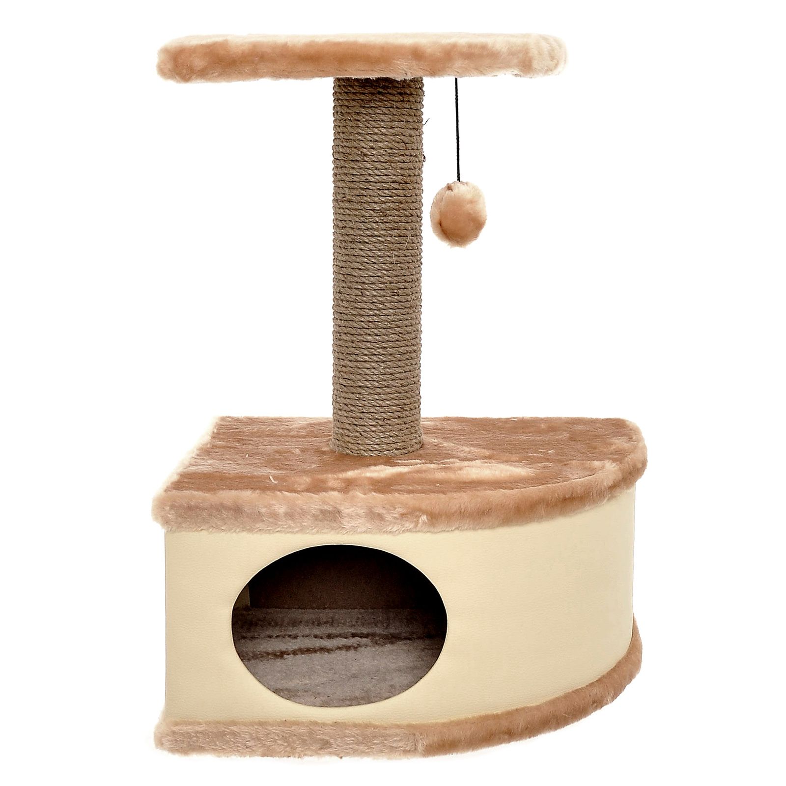 Yami-Yami Домик-когтеточка угловой Конфетти бежевый, 49х37х70 см (7,27 кг)