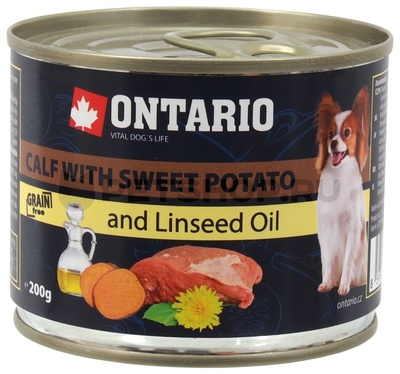 Ontario Консервы для собак малых пород: телятина и батат (OTARIO Mini - Calf, Sweetppotato, Dandelion and linseed oil 200g) 214-2016 46640.уц УЦЕНКА