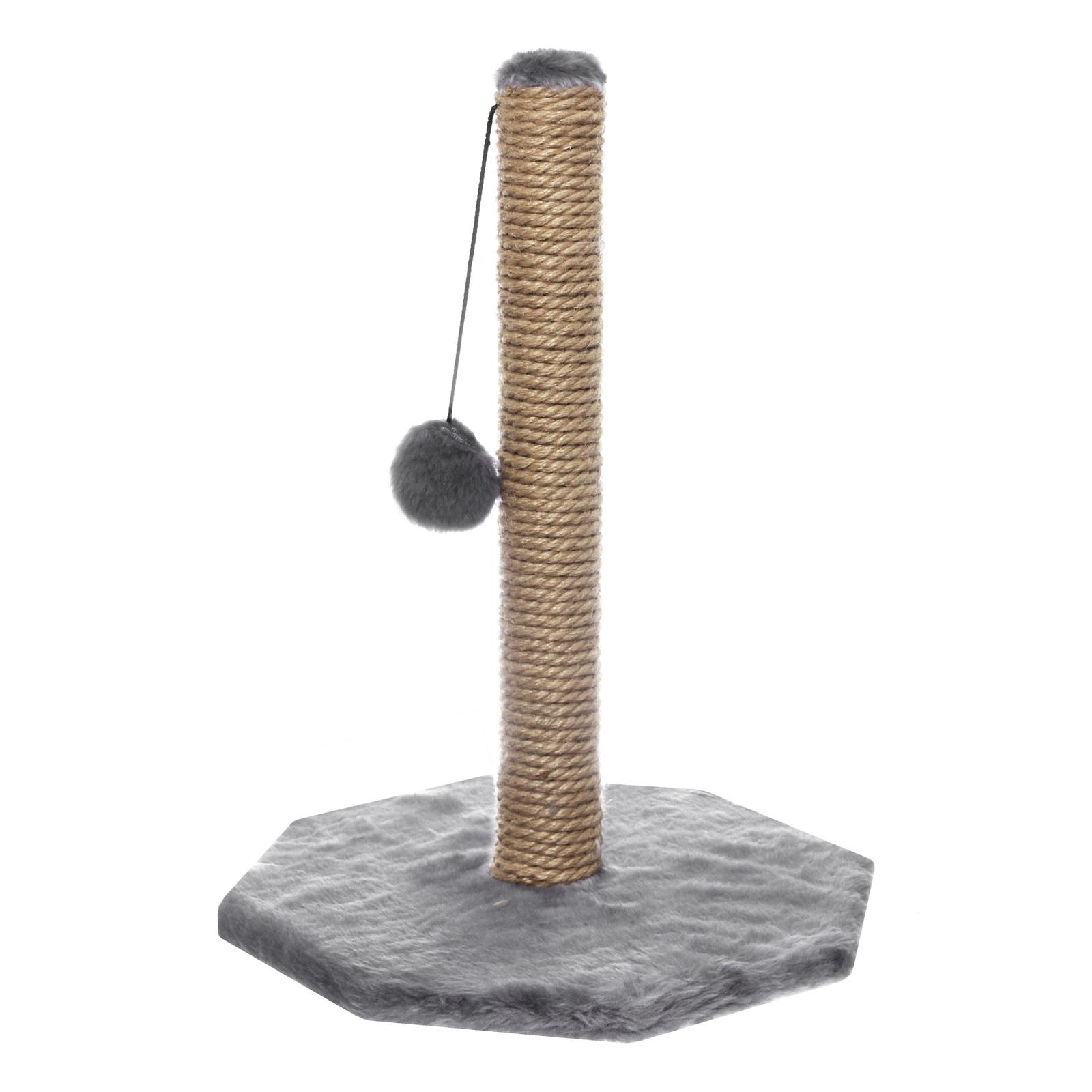 Yami-Yami Yami-Yami когтеточка Столбик 48 см с помпоном, джут, основание 36x34 см (тёмно-серый) yami yami 1шт игрушка мячик пластмассовый для кошек 3 5см 2400 0 007 кг 2 шт