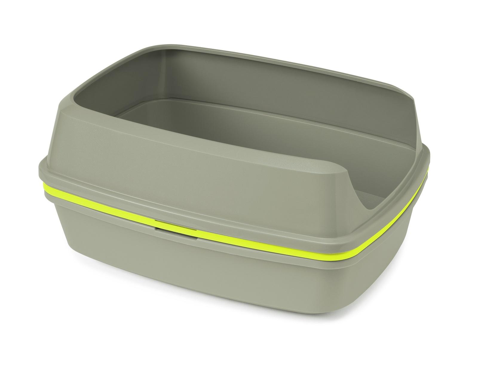 Многофункциональный туалет-лоток для кошек Lift to Sift, серый+лимонный (38х50х24)